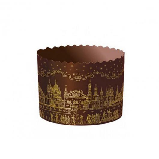 Форма бумажная для кулича СОБОР Золотой d134xh100 600 грамм