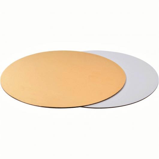 Подложка для торта 24 см плотность 1,5 мм золото/белый