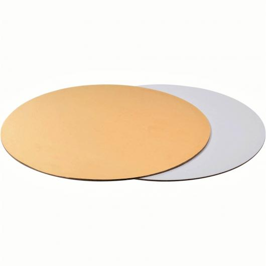 Подложка для торта 30 см плотность 1,5 мм золото/белый