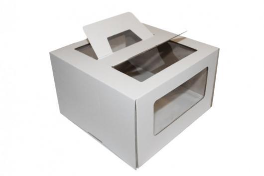 Коробка для торта 26 см*26 см*20 см с ручкой