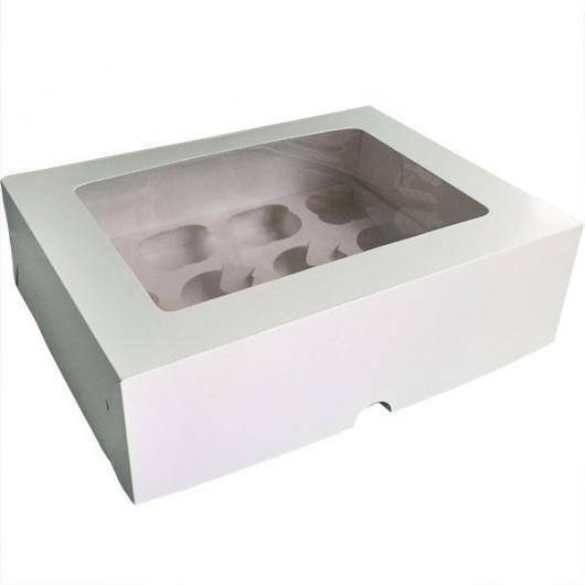 Коробка на 12 капкейков белая с окном