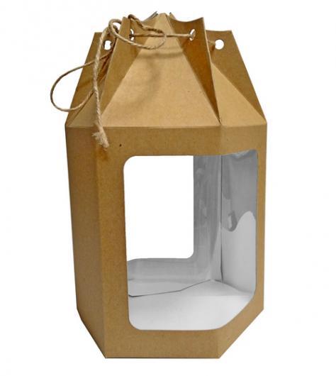 Коробка для кулича крафт 18 см * 18 см * 15 см с окном