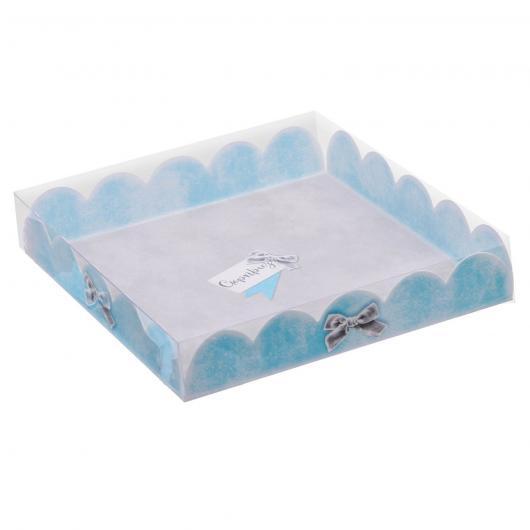 Коробка для кондитерских изделий с PVC-крышкой «Сюрприз», 18 × 18 × 3 см
