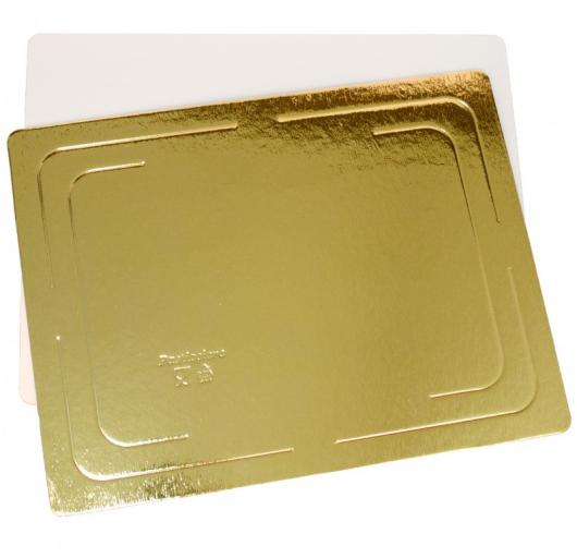 Подложка для торта 30 см*40 см плотность 3,2 мм золото/белый