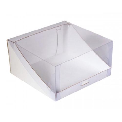 Коробка для торта 22 см*22 см*10 см с пластиковой крышкой (КТ100)