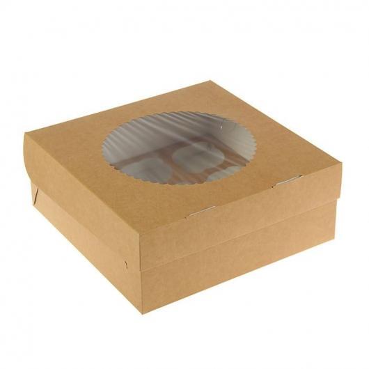 Коробка на 9 капкейков крафт с окном