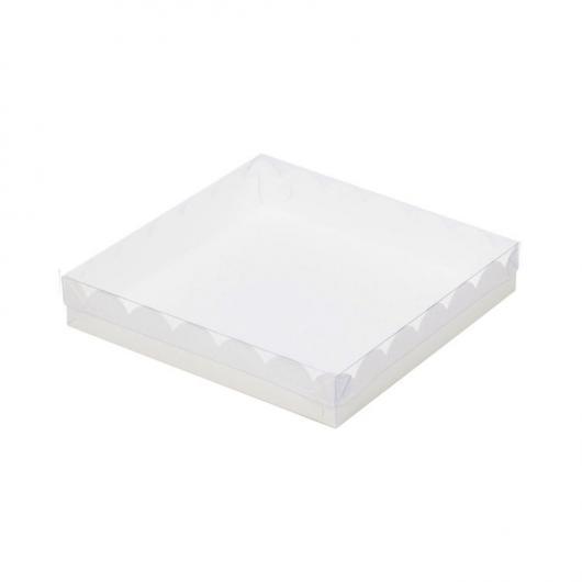 Коробка для пряника 12 см*12 см*3 см, белая, прозрачная крышка