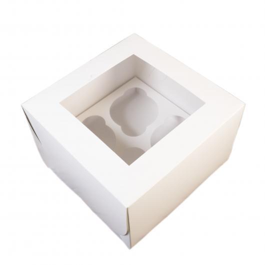 Коробка на 4 капкейка белая с окном