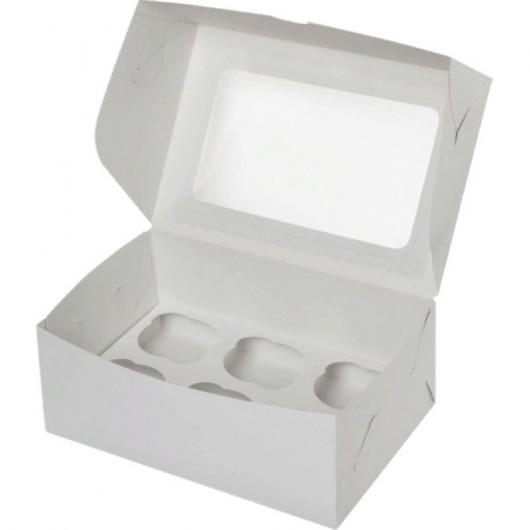 Коробка на 6 капкейков белая с окном