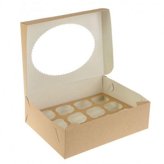 Коробка на 12 капкейк крафт с окном