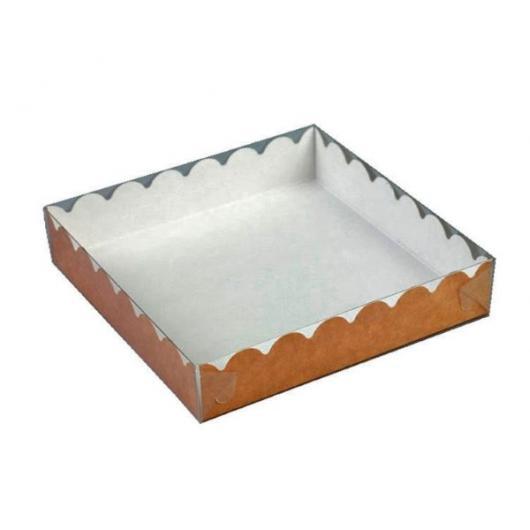 Коробка для пряника 15,5 см*15,5 см*3,5 см КРАФТ, прозрачная крышка