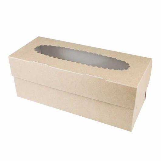 Коробка на 3 капкейка крафт с окном
