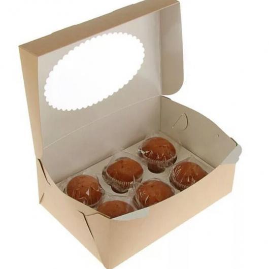 Коробка на 6 капкейков крафт с окном