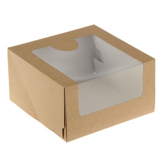 Коробка для торта 22,5 см*22,5 см*10 см с окном крафт