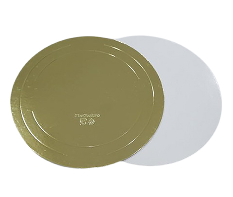 Подложка для торта 26 см плотность 3,2  мм золото/белый