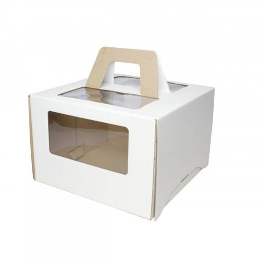 Коробка для торта 24 см*24 см*20 см с ручкой