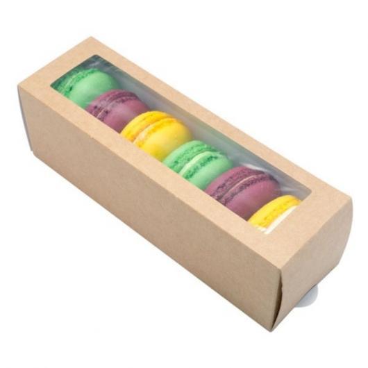 Коробка для макарун на 6 шт 18 см*5,5 см*5,5 см крафт